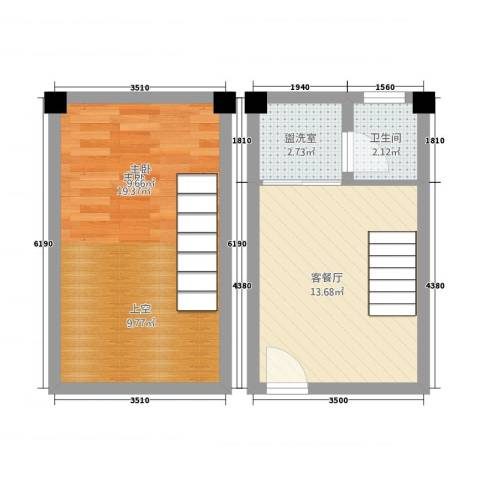 临海时代1室2厅1卫0厨43.33㎡户型图