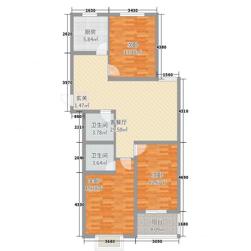 英尧・未来城2126.63㎡B2户型3室2厅2卫1厨