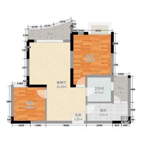 中渝山顶道壹号2室1厅1卫1厨64.63㎡户型图
