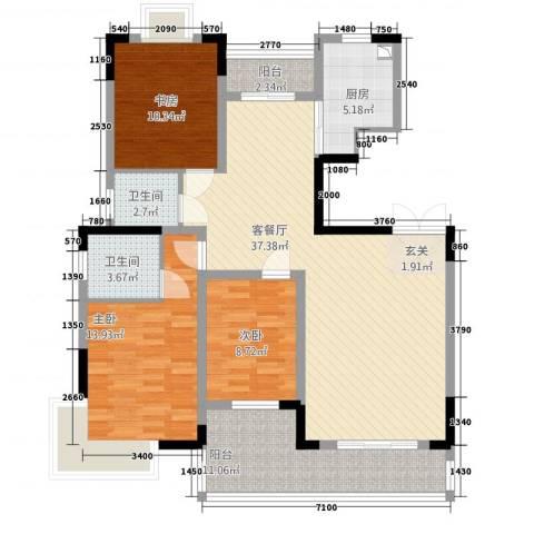 金色山庄3室1厅2卫1厨138.00㎡户型图