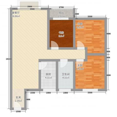 鹏发翡翠园3室1厅1卫1厨73.35㎡户型图