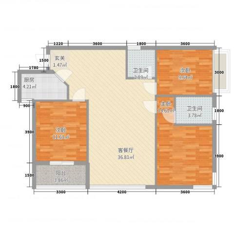 隆盛一品天下3室1厅2卫1厨115.00㎡户型图