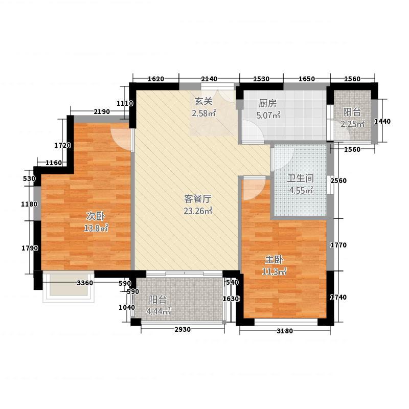 两室两厅一厨一卫89㎡户型