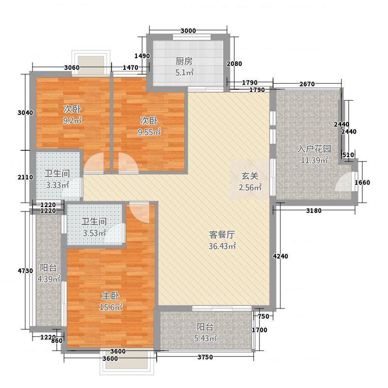 清江古城123.22㎡A户型3室2厅2卫1厨