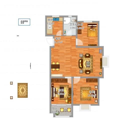 怡和四季园筑3室1厅1卫1厨102.00㎡户型图