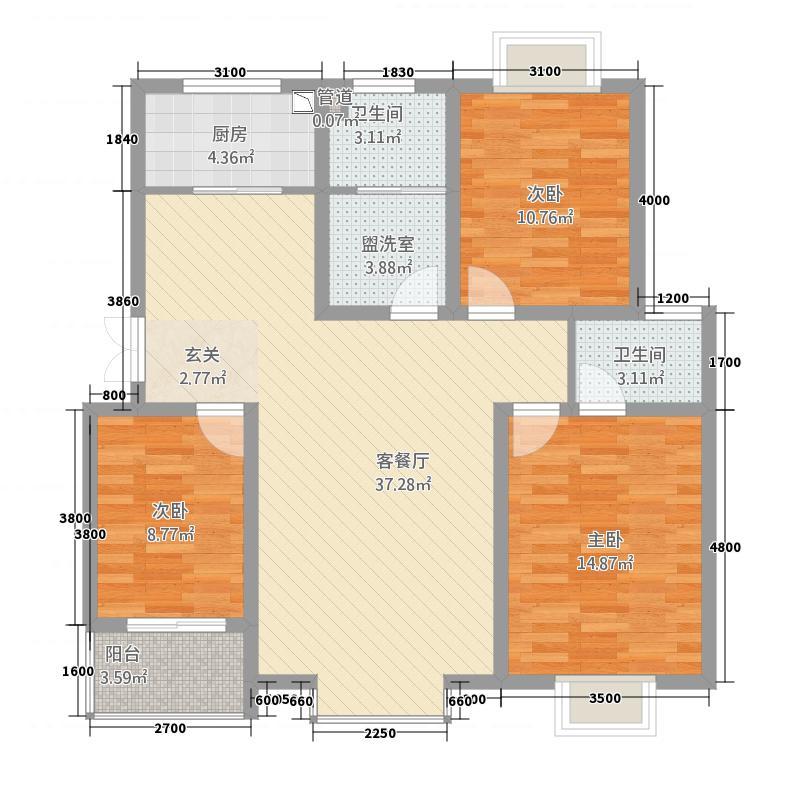 云天学大公寓11.27㎡C1户型3室2厅2卫1厨