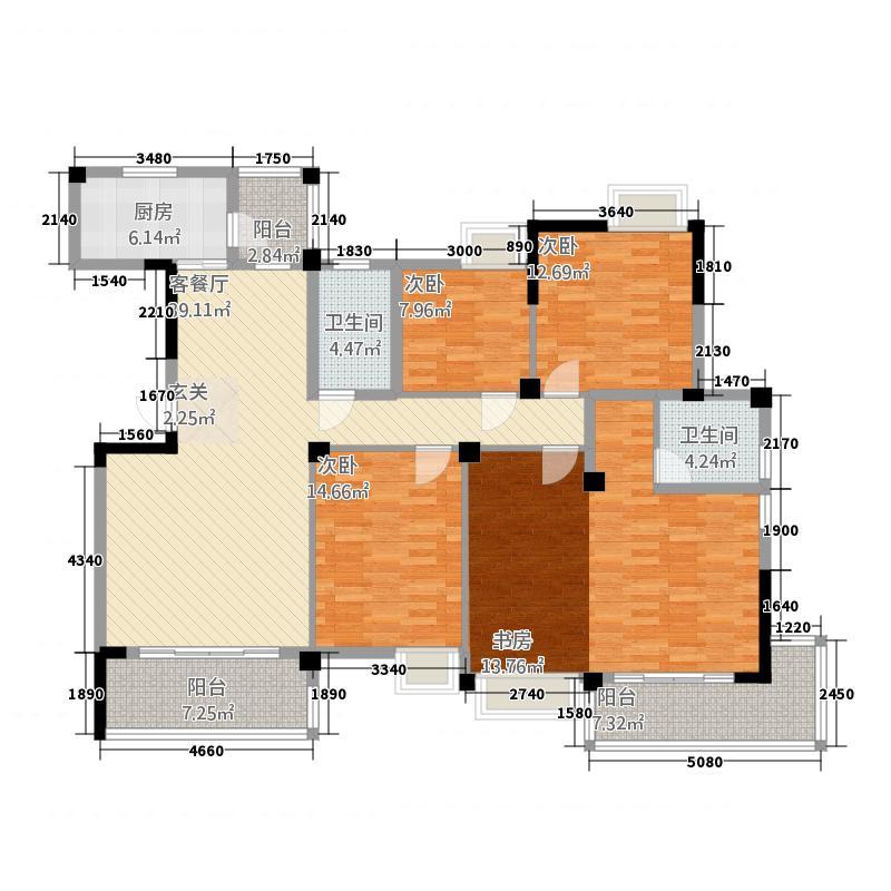 百步亭现代城17.00㎡户型4室