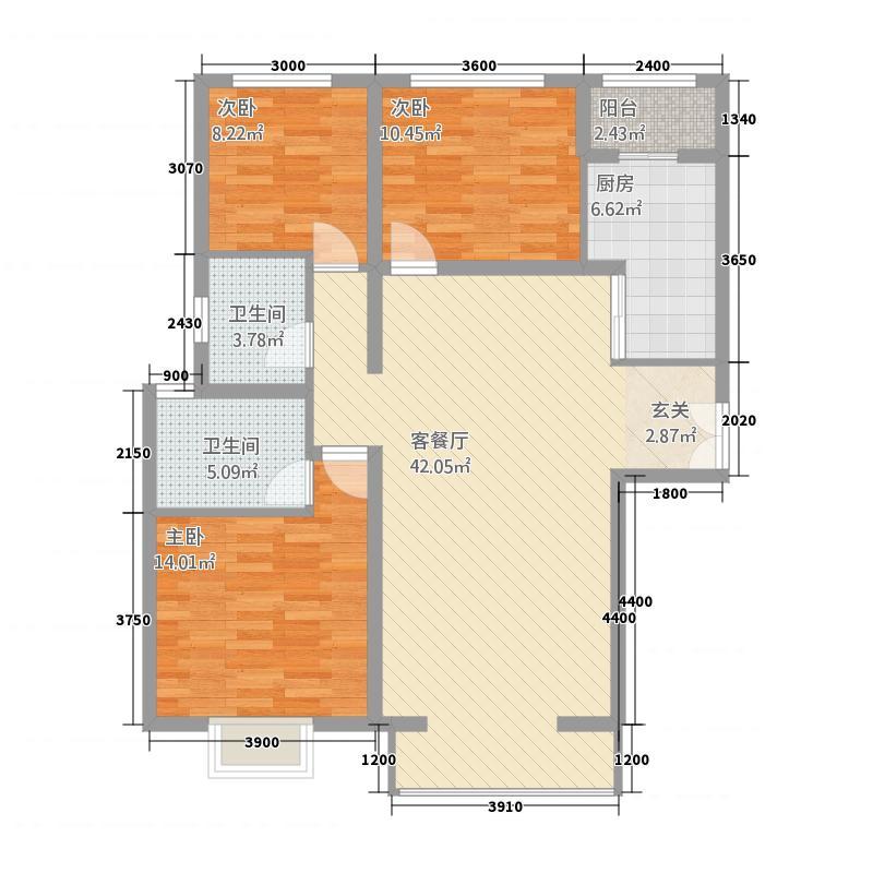 秀兰尚城137.00㎡户型3室