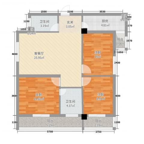 光明华都3室1厅2卫1厨112.00㎡户型图