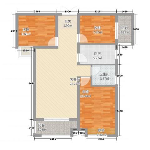 宜居・燕苑3室1厅1卫1厨106.00㎡户型图