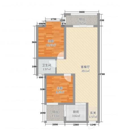 圣苑・林居2室1厅1卫1厨89.00㎡户型图