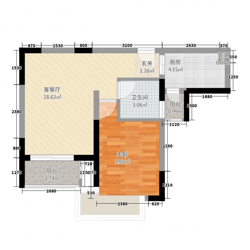 倚山别苑46.00㎡户型1室