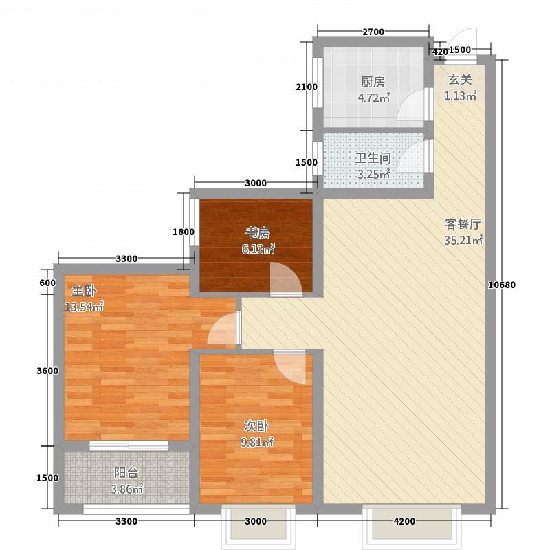 聚兴名苑三期1.40㎡C户型3室2厅1卫1厨