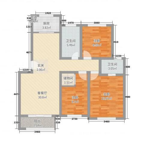 香林・丽景湾3室1厅2卫1厨116.00㎡户型图