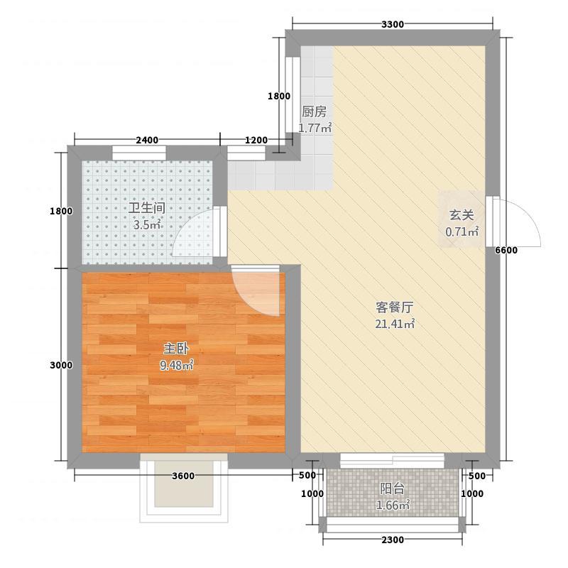 青城风景46.50㎡A户型1室1厅1卫1厨