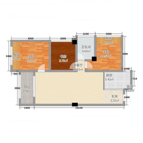 金佳.芙蓉苑3室1厅1卫1厨116.00㎡户型图