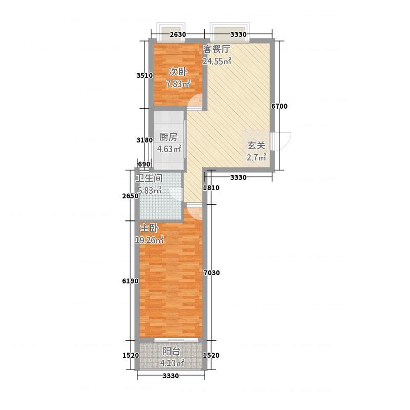 香樟西苑3.00㎡A户型2室2厅1卫1厨