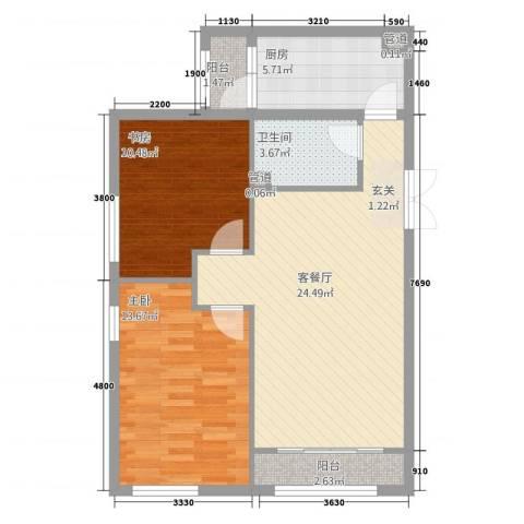 晋龙瑞和居2室1厅1卫1厨88.00㎡户型图