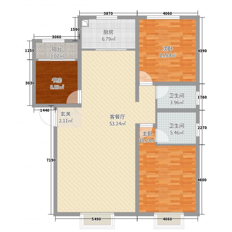 名仕雅园128.00㎡128户型3室2厅2卫1厨