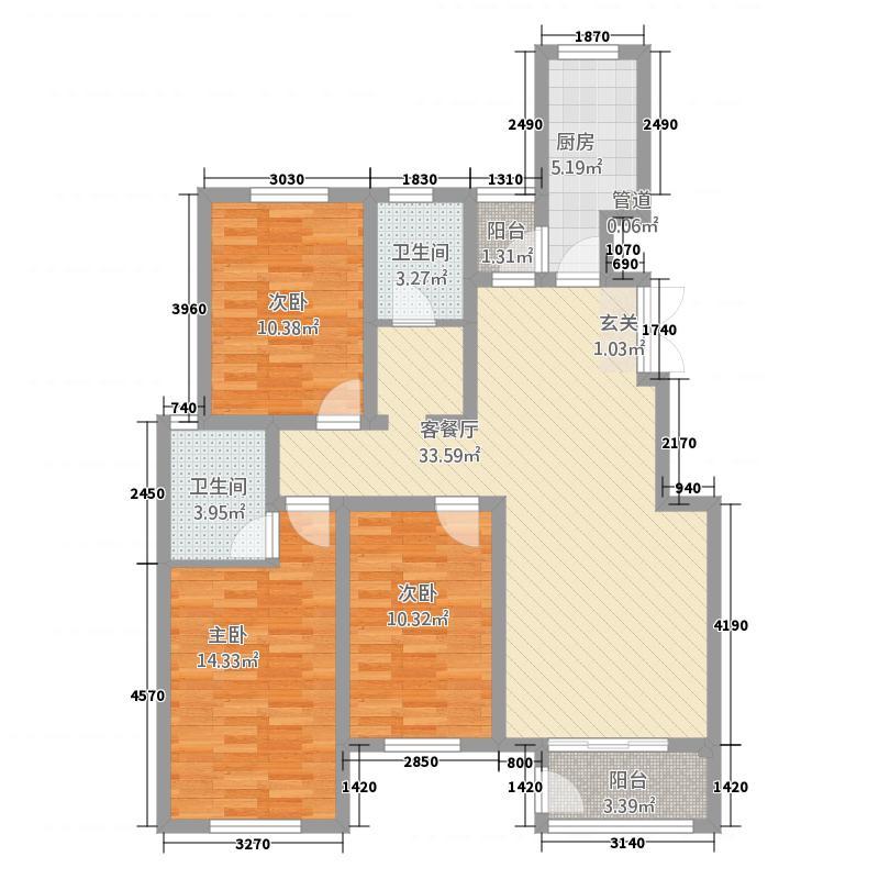 金成翡翠溪谷125.20㎡3B-户型3室2厅2卫1厨