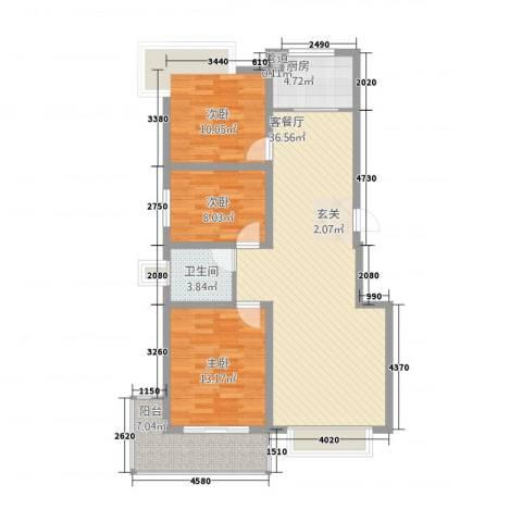 金域尚书苑3室1厅1卫1厨119.00㎡户型图