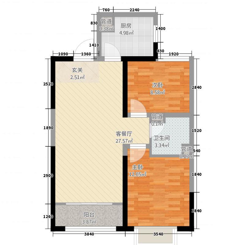 两室两厅一卫87㎡户型