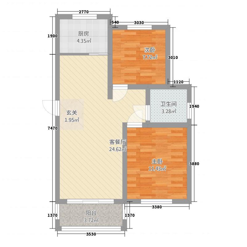 凤凰湖B区户型2室2厅1卫