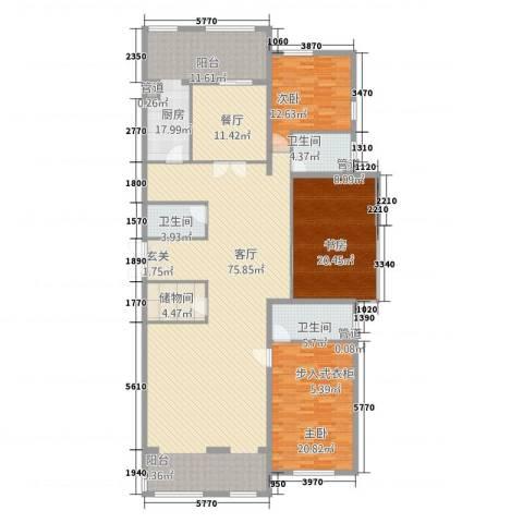 首府3室2厅3卫1厨245.00㎡户型图