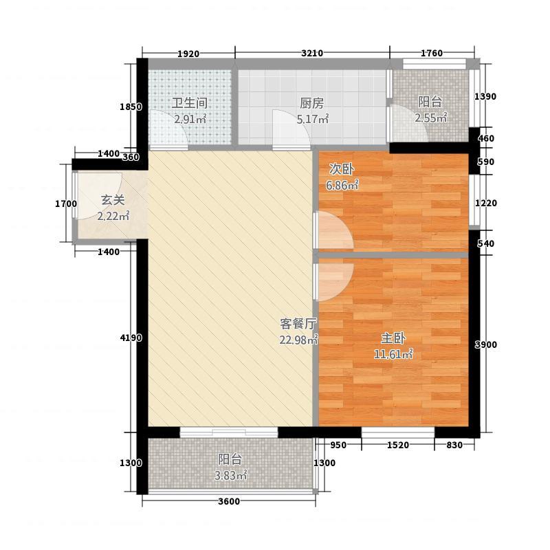 蓝色港湾7.00㎡B户型2室1厅1卫1厨