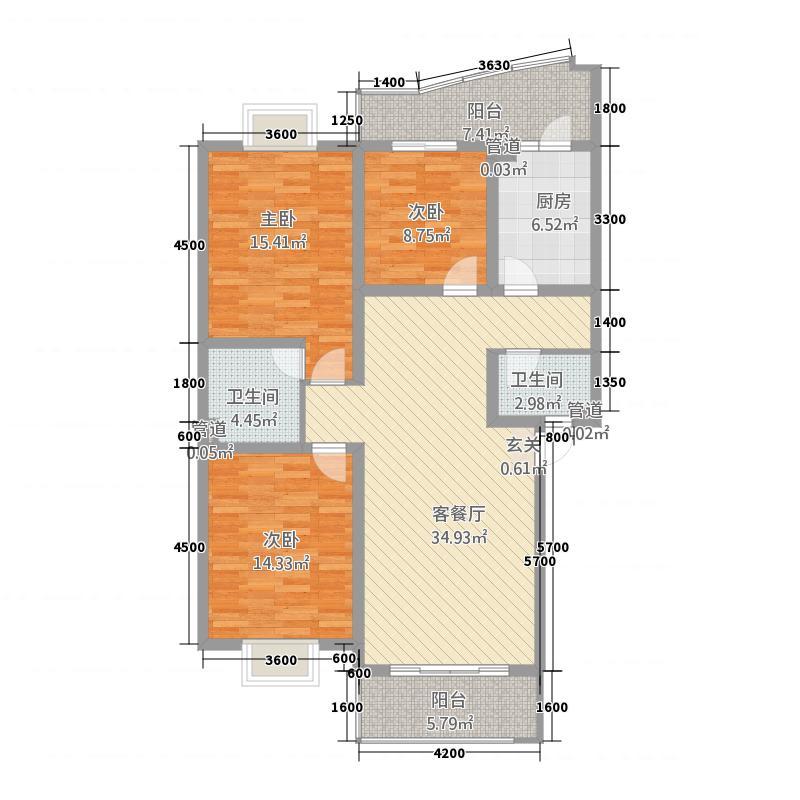 三和天骄年华114.50㎡B型户型3室2厅2卫1厨