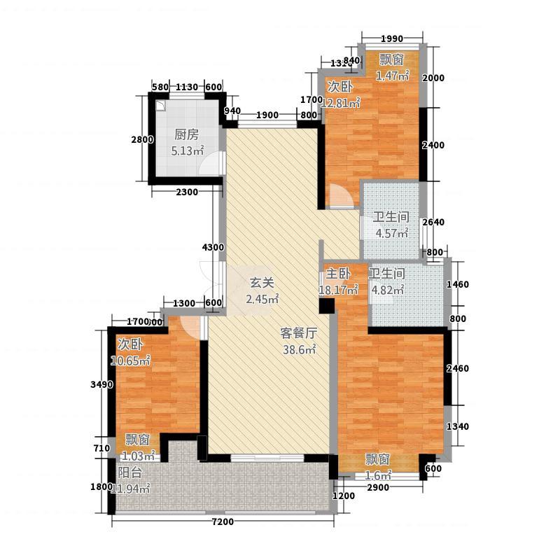 新纪元・香湖126.30㎡F户型3室2厅2卫1厨