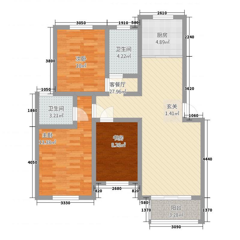 凤凰湖12.00㎡B区户型3室2厅2卫