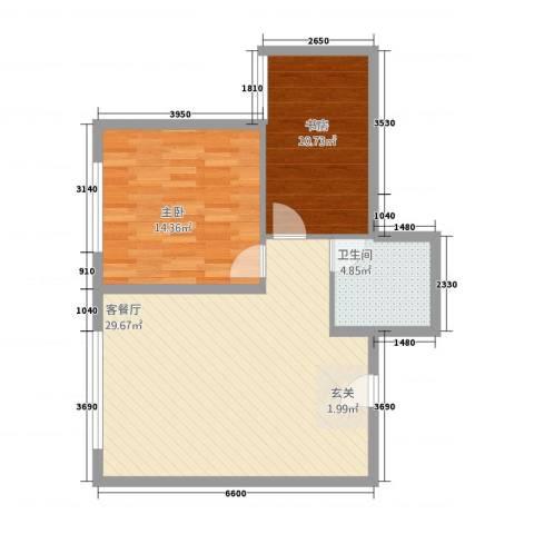 晋龙瑞和居2室1厅1卫0厨83.00㎡户型图