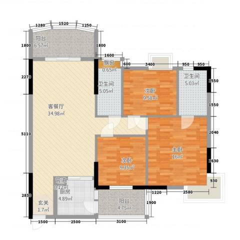 丽日花园3室1厅2卫1厨136.00㎡户型图