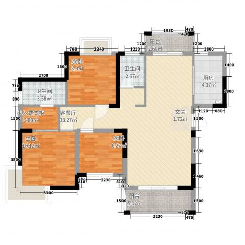 鼎雄・新里城3室1厅2卫1厨79.56㎡户型图