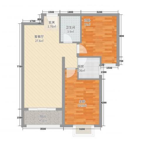 奥林・景泰嘉苑2室1厅1卫1厨88.00㎡户型图
