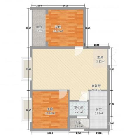 隆盛一品天下2室1厅1卫1厨86.00㎡户型图