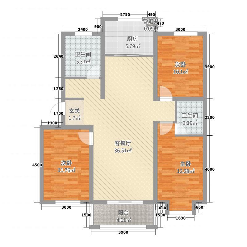 英郡121.13㎡H户型3室2厅2卫1厨