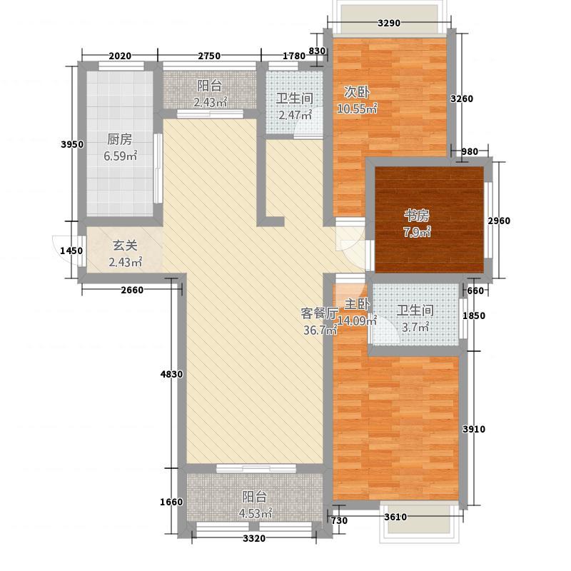 华天公馆13.00㎡1#楼4户型3室2厅2卫