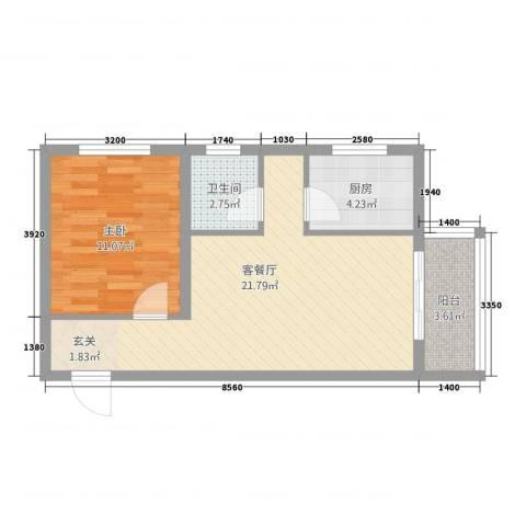 翡翠城1室1厅1卫1厨62.00㎡户型图