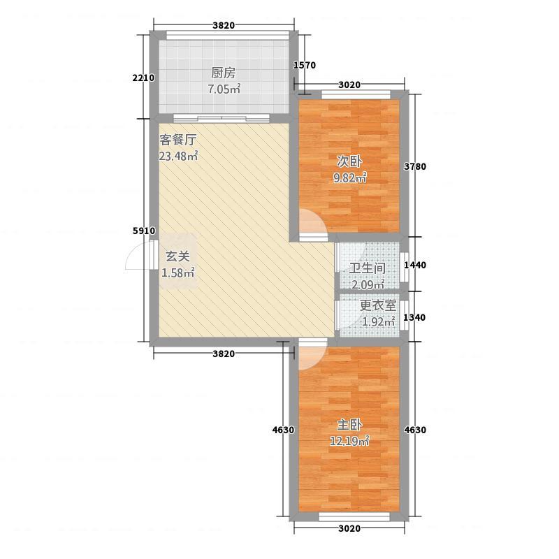 东瑞鑫城81.30㎡8103户型2室2厅1卫1厨