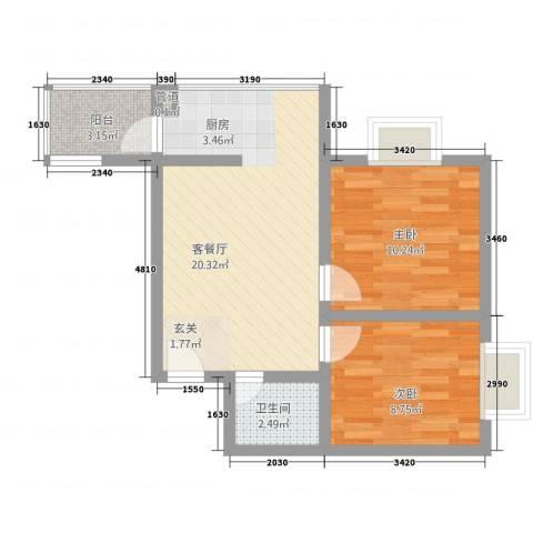 金域尚书苑2室1厅1卫0厨65.00㎡户型图
