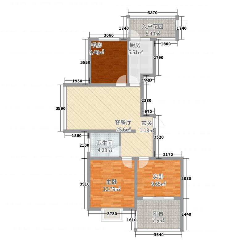 清风和祥家园116.00㎡B户型3室1厅1卫1厨