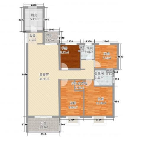 高速・时代城4室1厅2卫1厨135.00㎡户型图