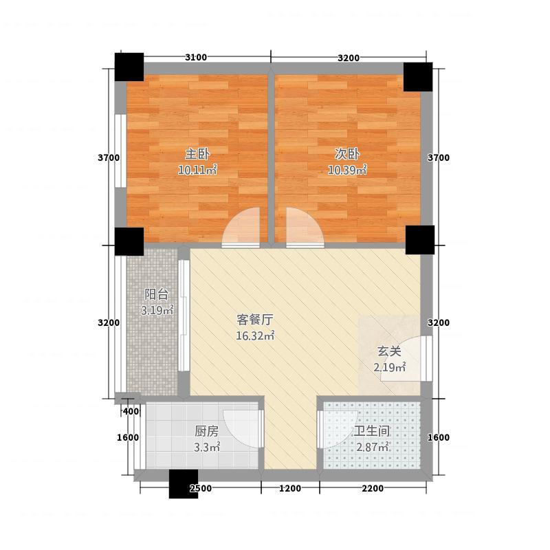 桂木园75.00㎡小区户型2室