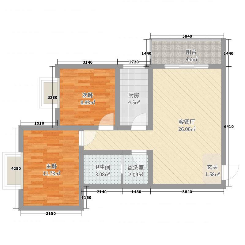 新盛时代88.80㎡D户型2室2厅1卫1厨