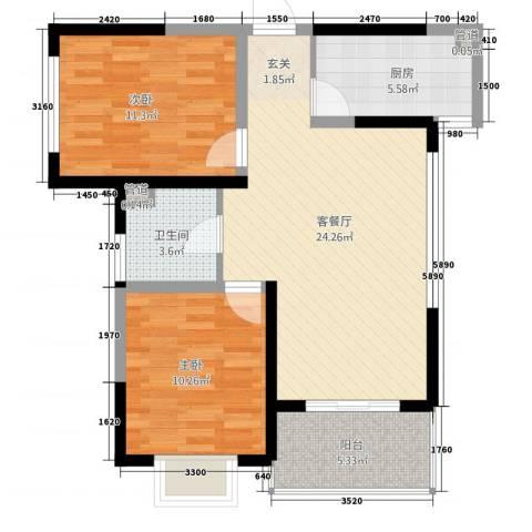 大观园家天下2室1厅1卫1厨87.00㎡户型图
