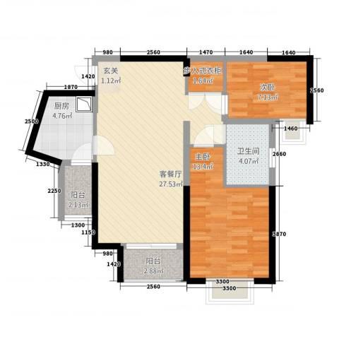 昆山鑫苑国际城市花园2室1厅1卫1厨92.00㎡户型图