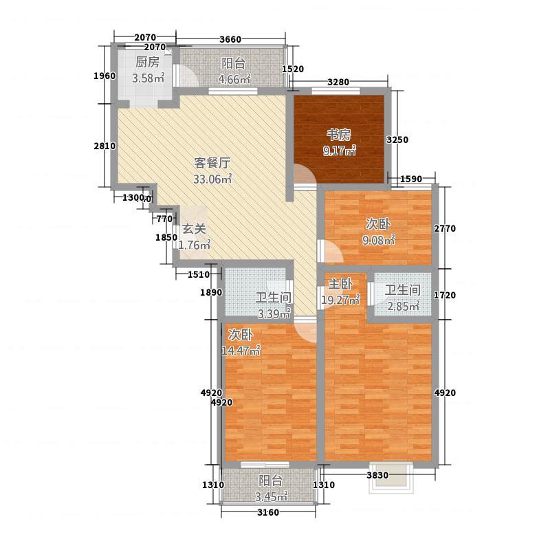 江南印象84143.16㎡A8#D户型4室2厅2卫