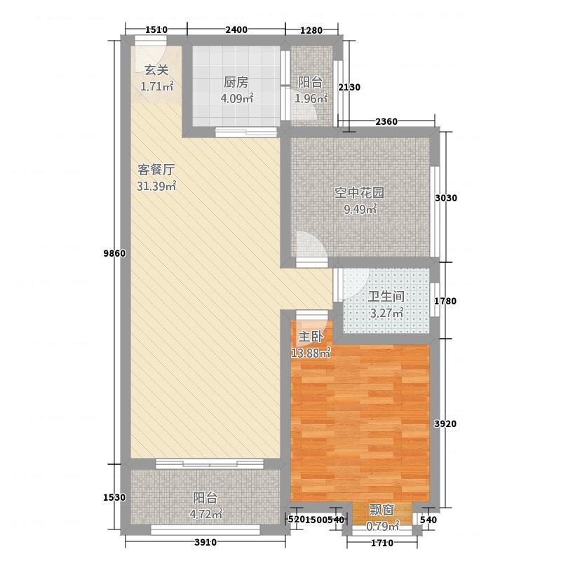 兰亭绿洲85.68㎡B5户型1室2厅1卫1厨
